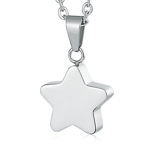 Epinki Acero Inoxidable Plata Estrella Colgante Urna para Cenizas Cremación Recuerdo Collar-Grabar