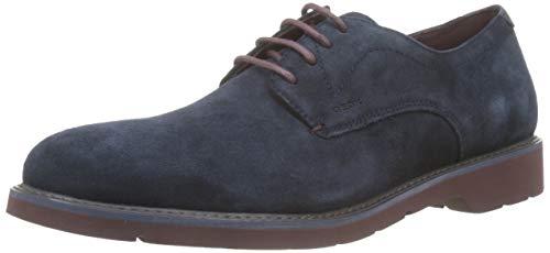 Geox U Garret A, Zapatos de Cordones Derby para Hombre, Azul (Navy/Bordeaux C4335), 43 EU