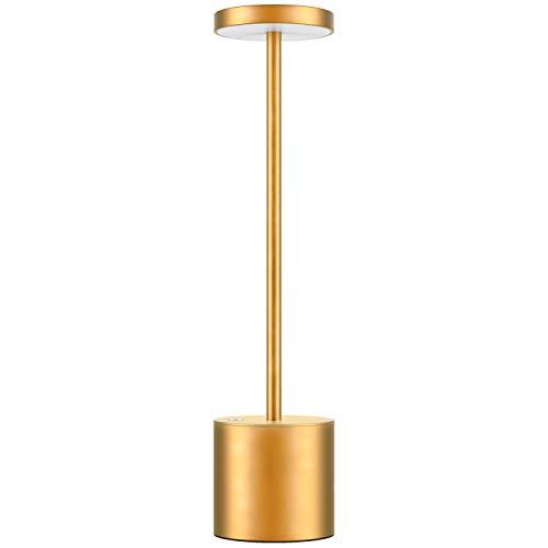 Lampada da Scrivania Senza Fili 6000mAh Ricaricabile USB, Luce da Ristorante Dimmerabile a 2-Livelli Moderna in Alluminio, Lampada da Tavolo LED da Lettura Comodino per Camera da Letto (D'oro)