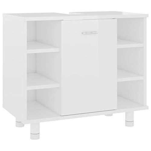 vidaXL Badezimmerschrank Unterschrank Badschrank Waschbeckenunterschrank Waschtischunterschrank Badmöbel Hochglanz-Weiß 60x32x53,5cm Spanplatte