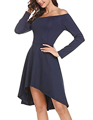 【Dress Fabric】: 95% Polyester, 5% Spandex. Strechy and comfortable. 【Features】: This is an off shoulder long sleeve dress, with 50s vantage style. Unique high low hem + asymmetry neck makes you looks more elegant, sexy and charming. You must be the s...