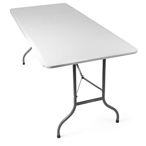 Tavolo Pieghevole da Giardino Bianco perfetto come Tavolo da Campeggio, da Buffet, da Cucina |...