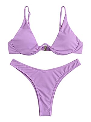 Soft and Stretchy material Push Up Triangle bikini top, Removable Padding Adjustable Straps, Underwire, Brazilian Bottom Perfect for beach, surfing, swimming pool, bathing and other water activities Please refer to size guide carefully before purchas...