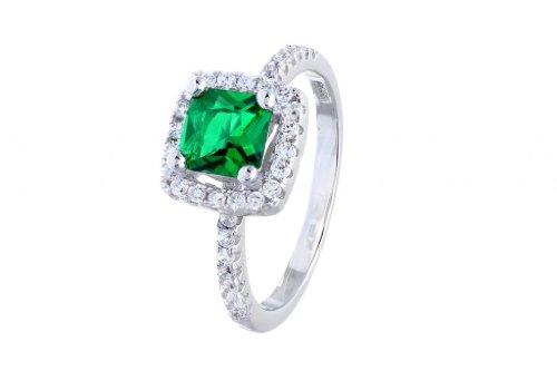 Pequeños tesoros para mujer-anillo/anillo de compromiso - 925 plata esterlina - esmeralda circonios
