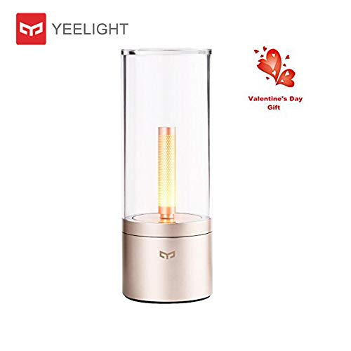 Yeelight Lámpara LED,regulable Lámpara LED de ambiente sin llama,6.5W 1800K Luces de vela recargables USB,luz de noche,control de Bluetooth de teléfono inteligente,luz de vela,luz ambiental