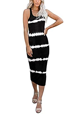 Bodycon tank top dress, tie dye midi dress, scoop neck, racerback Sleeveless midi pencil dress, slim fit tank dress Versatile long dress, can be easily dressed up or down 95% Polyester/5% Spandex, soft and stretchy material, form fitting and flatteri...