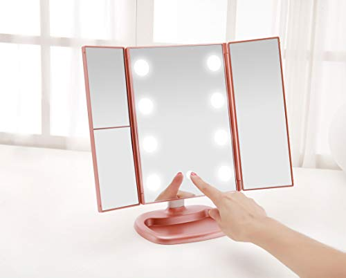 Beauty tools | Miss Sweet Big Bulb Tri-fold Makeup Mirror Vanity Mirror with 1X/2X/3X Magnification (Rose Gold), Gym exercise ab workouts - shap2.com