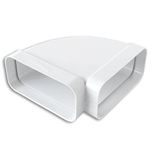 La Ventilazione CCO157B Curva Orizzontale in ABS per Tubo Rettangolare, Bianco, 150x70 mm
