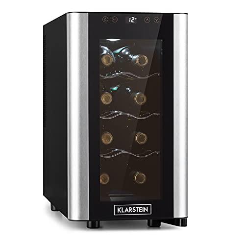 KLARSTEIN Reserva Slim Uno - Frigorifero Vini, Cantinetta, Temperatura: 11-18 C, Silenzioso: 26 dB, 3 Ripiani in Metallo, Luce LED, Protezione da UV, 23 L/8 Bottiglie, Nero