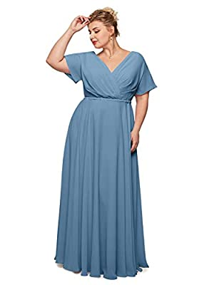 Fully lined, built-in bra, with a flattering wrap v neck and flowing flutter sleeves, this chiffon bridesmaid dress is a party-pleasing pick, a soft full skirt complete the look. Hand wash or machine wash available. Preferred hand wash and seperately...