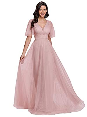 Fully lined, padded, soft fabric Features: short sleeve, soft tulle fabric, a-line, floor-length, illsuion, long party gowns, formal dresses for evening party Long tulle bridesmaid dress with ruffle sleeve, the dress is elegant and modern. Perfect as...