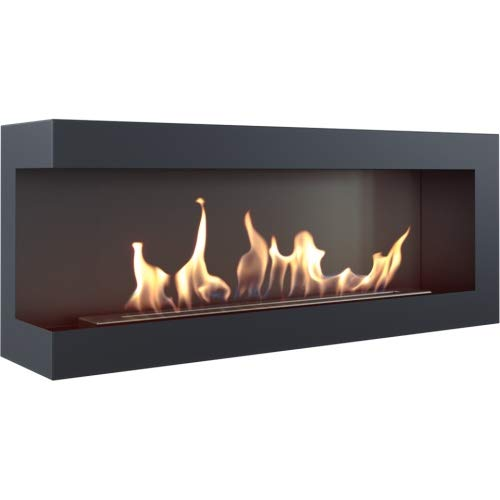 DELTA 1200 Bioethanol Fireplace Bio-Fireplace Black TÜV Certified Standing Fireplace Ethanol