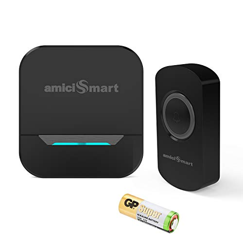 amiciSmart Wireless Doorbell 80dB Long Range Waterproof Push Button and Plug-in Receiver, LED Flash...