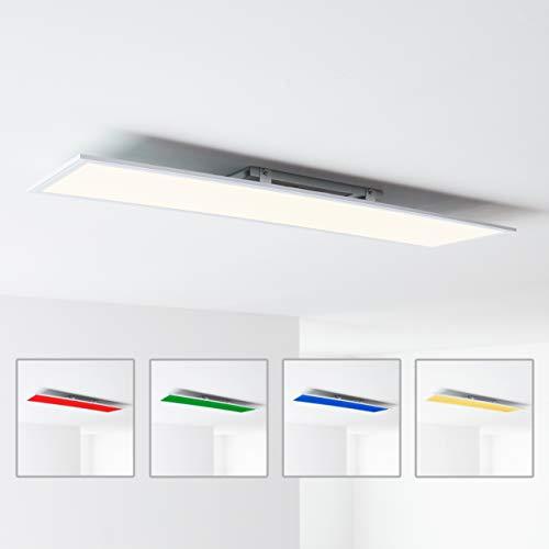 LED Panel Deckenleuchte, 120x30cm, 40 Watt, RGB Farbwechsel per Fernbedienung steuerbar, 2700-6500 Kelvin, Metall/Kunststoff, Weiß