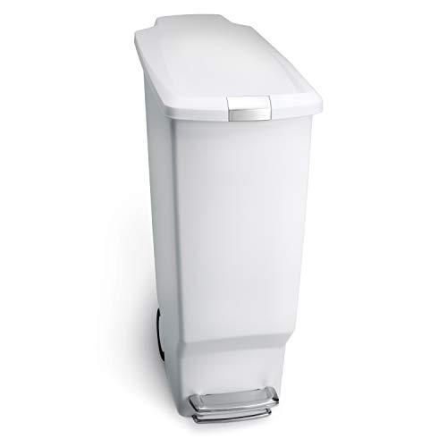 simplehuman 40 Liter / 10.6 Gallon Slim Kitchen Step Trash Can, White Plastic With Secure Slide Lock