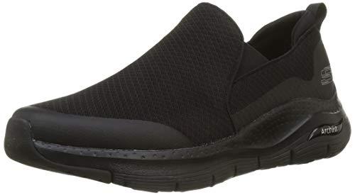 Skechers Arch Fit, Zapatillas sin Cordones Hombre, Azul (Black Mesh/Black Synthetic/Trim BBK), 46 EU