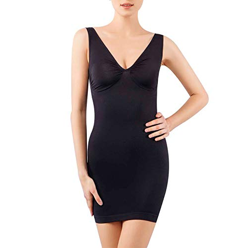 +MD Women's Full Body Shapewear Slip V Neck Control Shaper for Under Dresses