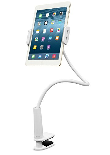 Aduro Solid-Grip iPad Stand Holder 360 Adjustable Universal Gooseneck Lazy Tablet Stand for Desk  Swivel Durable Rubberized Video Mount for Recording Holder (White)