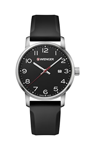Wenger Men's Sport Stainless Steel Swiss-Quartz Watch with Silicone Strap, Black, 22 (Model: 01.1641.101)