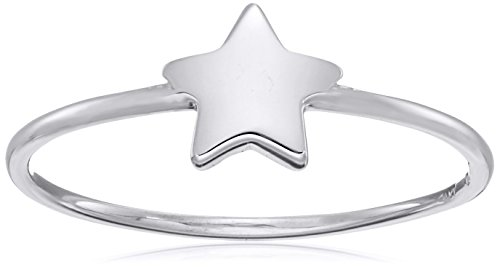 Amazon Collection14k Italian White Gold Star Ring, Size 7