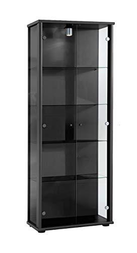 K-Möbel Glasvitrine in Schwarz(176x67x33 cm) mit 4 höhenverstellbaren Glasböden aus ESG; beleuchet; perfekt für Sammler;