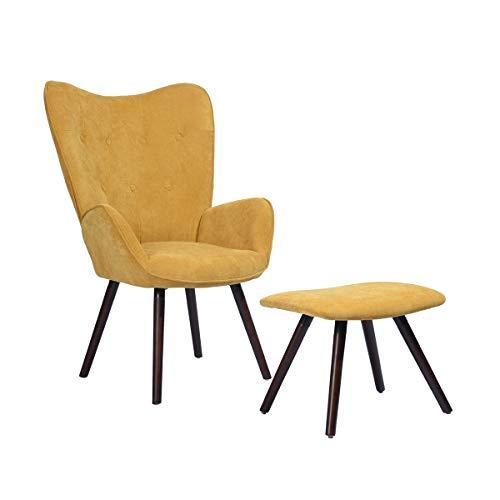 MEUBLE COSY Fauteuil Design scandinave Poltrona, Legno, Tessuto Giallo, 68x73x106cm