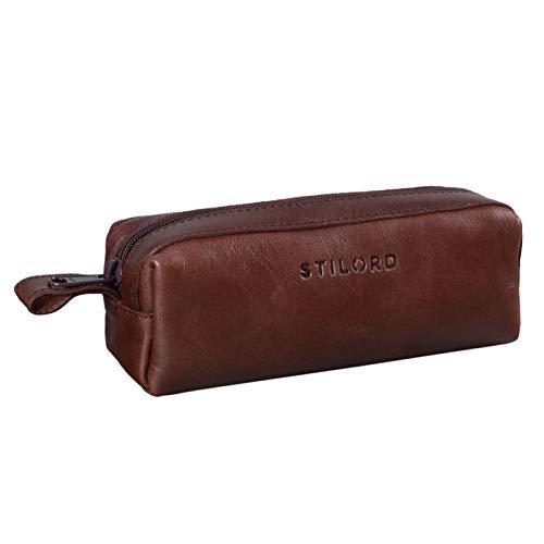 STILORD 'Linus' Astuccio in pelle grande Portapenne Portamatite Portatrucco vintage per Universit Scuola e Ufficio Uomo Donna, Colore:marrone - cioccolata