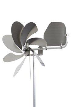 steel4you Moulin à vent SKARAT A1004 Speedy20 Plus en acier inoxydable (20 cm de diamètre), roulement à billes, avec drapeau à vent (rotatif à 360°) - Fabriqué en Allemagne