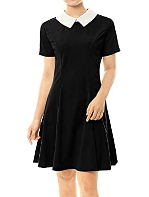 Occasion: Perfect for Halloween, Wednesday Addams Costume Party, Christmas Party, Cosplay Party, Club Night Party, Dance or Daily Life Contrast Doll Collar, Short Sleeves, Unlined The flare of the bottom will give you a curvy silhouette Machine Wash ...