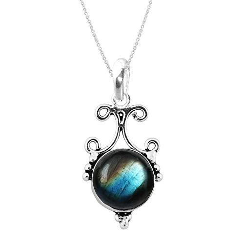 925 Sterling Silver Natural Round Labradorite Pendant For...