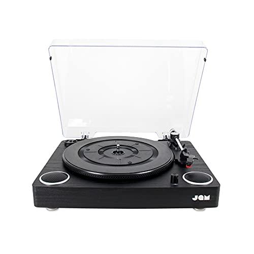 Jam Play - Platine Vinyle, Tourne-disques avec haut-parleurs intégrés– 33, 45, 78 tours - Son haute qualité, 3 vitesses - USB, AUX, Audio RCA, Cache anti-poussière