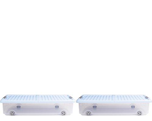 Ondis24 Unterbettbox Rollerbox Aufbewahrungsbox Kleiderbox Utensilienbox mit Einem klappdeckel zum platzsparendem Befüllen und Entnehmen 35 W (2 Stück, Hellblau)