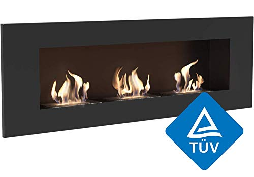 Kratki Delta 3 Wall Mounted Ethanol Fireplace [TÜV Certified] - Black