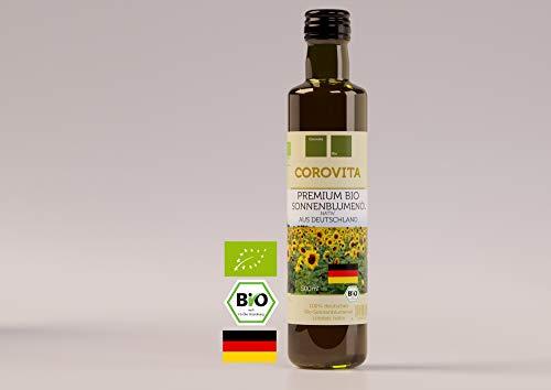 Corovita Bio-Sonnenblumenöl | Linoleic nativ | Bio | 100% aus Deutschland | 500ml | Premium Qualität | Mühle: Ölmühle Oberschwaben
