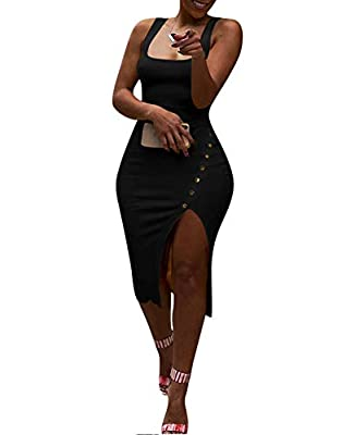 Fashion solid color square neck knit rib bandage button up split party shealth midi dress clubwear. Fabric material: Made of polyester and knitted, comfy and breathable to wear. Perfect for casual and party wear. It could be worn for cocktail, evenin...