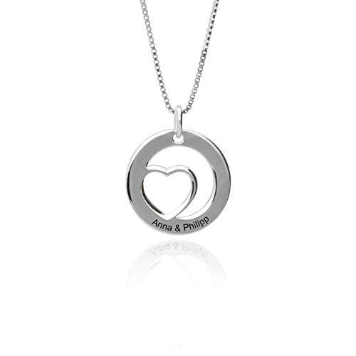Damen Halskette 925 Silber Kette mit Herz Anhänger und personalisierte Gravur Lieblingsstück für...