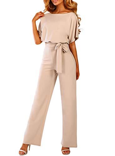 Happy Sailed Damen Langarm O-Ausschnitt Elegant Lang Jumpsuit Overall Hosenanzug Playsuit Romper S-XL, Aprikose, Large (EU44-EU46)