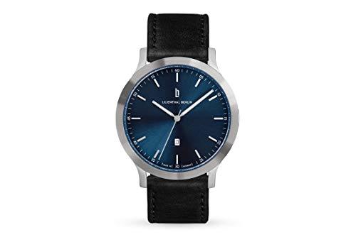 Lilienthal Berlin Huxley Silver Blue | Made in Germany | Unisex Armbanduhr | 40mm (Schwarz - Leder)