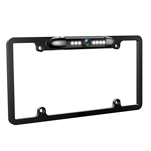GLK License Plate Backup Camera Front Rear View Reverse Back Up Camera with 7 LED Night Vision Waterproof 170 Degree Viewing Angle for Cars, Easy to Install