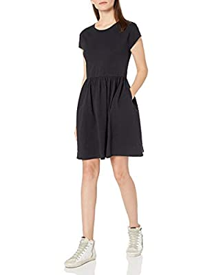 """Simple yet chic, this relaxed fit short sleeve dress with a gathered-waist provides an effortless look that's ready to style This 100% cotton jersey knit fabric has a slub yarn which varies in thickness, perfectly comfy and casual Model is 5'10"""" and ..."""