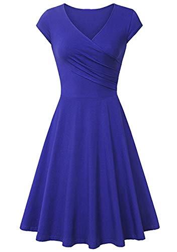 EFOFEI Vestido Cruzado con Cuello en V para Mujer Vestido Midi Informal Vestido de una línea Royal Blue 3XL