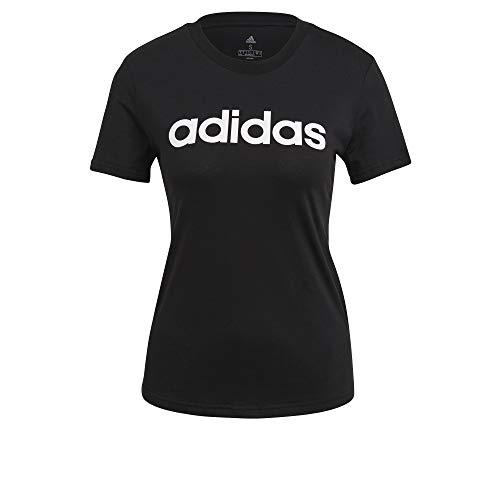 adidas Essentials Linear, Maglietta Donna, Nero Bianco, M