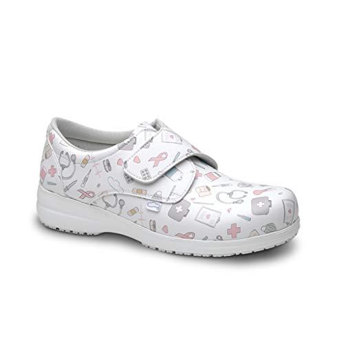 FELIZ CAMINAR - Zapatos Estampados Sanitarios Atom Sanitario/Antideslizantes y Cómodos para Mujer/Clínicas, Veterinarios, Hospital, Geriátricos (41)