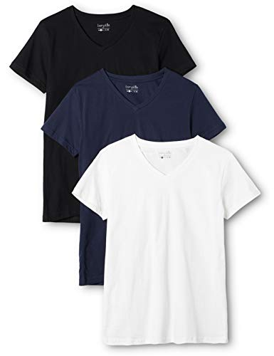 Berydale Damen T-Shirt mit V-Ausschnitt, 3er Pack, Mehrfarbig (Dunkelblau/Weiß/Anthrazit - 3er Pack) , Large
