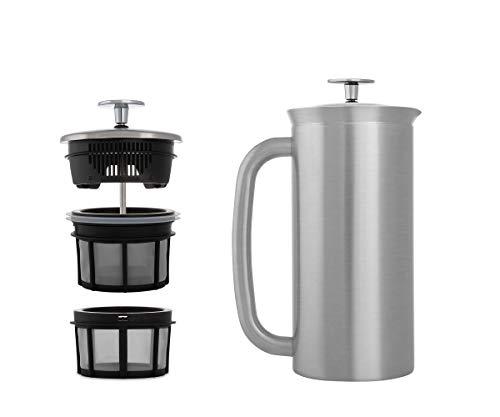 ESPRO French Press P7, Kaffee Stempelkanne mit Thermofunktion, Coffee-Maker, Kaffeezubereiter, 950ml, Edelstahl gebürstet