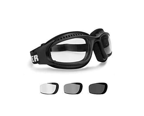 BERTONI Gafas Moto Fotocromaticas Antivaho Cordón Ajustable para Casco - Interior Acolchado F113 Negro Opaco (Lente Fotocromatica)