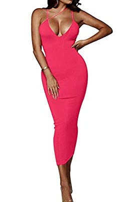 Material: Polyester and Spandex. Soft and stretchy spaghetti strap midi dress. Feature: Deep V-Neck, Sexy Asymmetrical spaghetti strap, Solid, Sleeveless, backless, Vibrant color, Not see through, Stretchy, Soft neon slim fit bodycon midi dress. Desi...