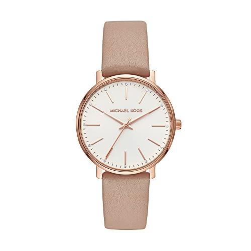 Michael Kors Damen Analog Quarz Uhr mit Leder Armband MK2748