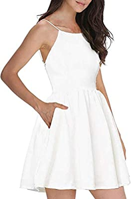 MATERIAL: Polyester,comfortable and durable wear, it's normal that slightly see-through consider pure white material. PERFECT FOR SMALLER OR MID-SIZE BREASTS. Problem item>>>>Contact the SELLER>>>>Repost or refund. DESIGN: Women's white short dress s...
