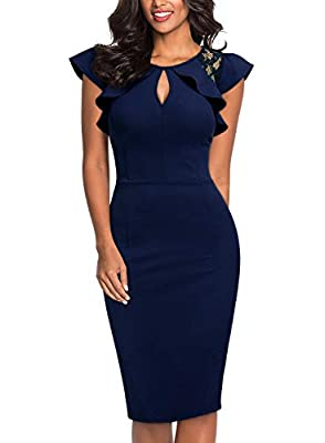 Size of dress is regular size for US standard measurment, please just choose the size you usually wear Great for all occasions: cocktail and evening party, both casual and formal events Vintage cold shoulder desgin, slim fit dress will highlight body...